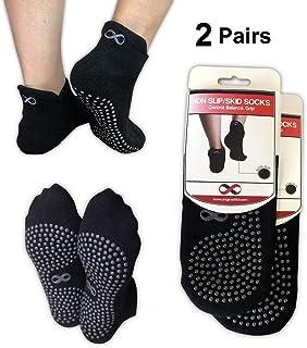 Pack de 2 pares de calcetines antidesizantes de YogaAddict, ideales para usar en el hospital, viajes, yoga, pilates, rehabilitación o en casa, Black - 2 Pairs, S/M