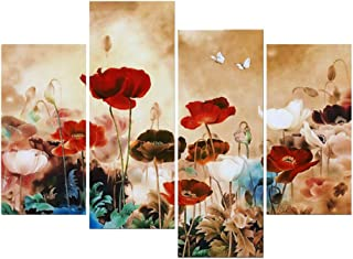 Wieco Art Blooming Poppies Large Colorful Flowers Canvas Prints Wall Art Floral Giclee Pictures Paintings Living Room Bedroom Home Decorations Modern 4 Panels Stretched Framed Artwork XL