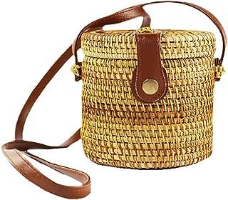 Weixinbuy Rattan Bags for Women Handwoven Wicker Woven Circle Crossbody Bag Leather Straps Natural Chic Handbag Travel Beach Bag Handmade Gifts