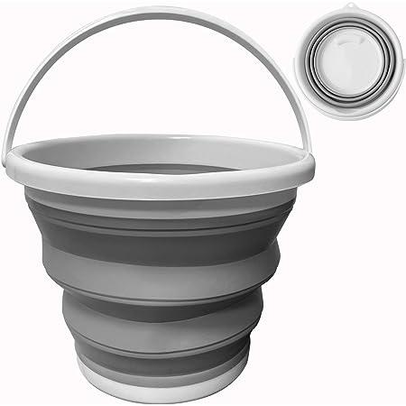 Seau Pliable 10 litres, Round Seau en Plastique Silicone Pliable pour la Pêche ,le Camping , le Ménage Lessive.(Gris)