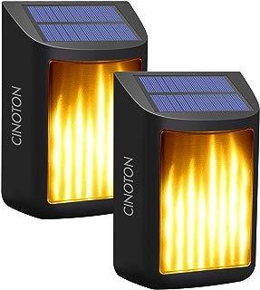 CINOTON Solar Lights,Path Dancing Flame Lighting Waterproof Dusk to Dawn Flickering Outdoor Waterproof Fence Garden Wall Lights (2 Pack)