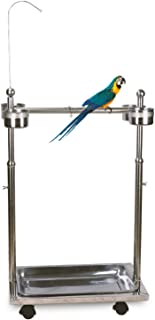 Ozzptuu Metal Bird Feeder Stand Adjustable Height Rolling Bird Perch Play Stand Parrot Playstand with Universal Wheels and...
