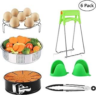 Pot Accessories - 6 Pcs Accessories Set Fits InstantPot 5, 6, 8 Qt Pressure Cooker, Steamer Basket/Egg Steamer Rack/Non-Stick Springform Pan/