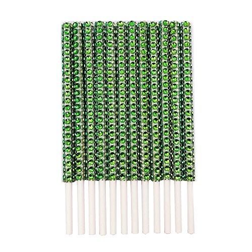 Rhinestone Bling Paper Sticks for Lollipop Cake Pop Apple Candy Buffet Treat Party Favor 6 inch (Apple Green, 24)