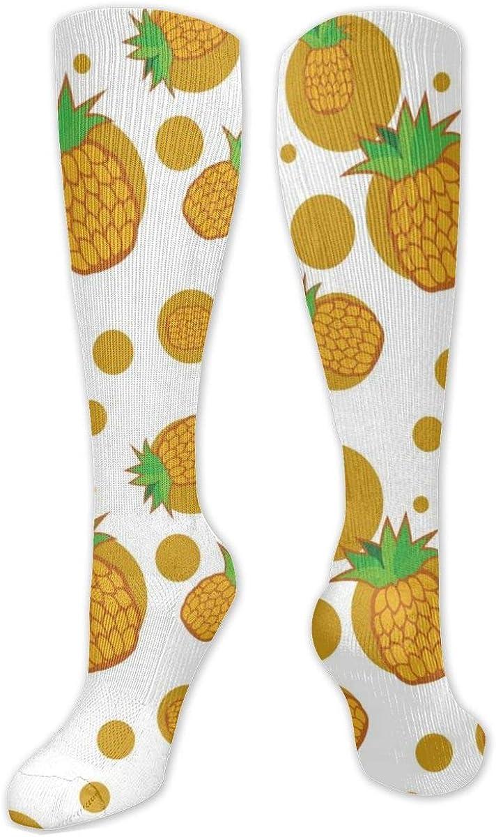Pineapple Circle Knee High Socks Leg Warmer Dresses Long Boot Stockings For Womens Cosplay Daily Wear