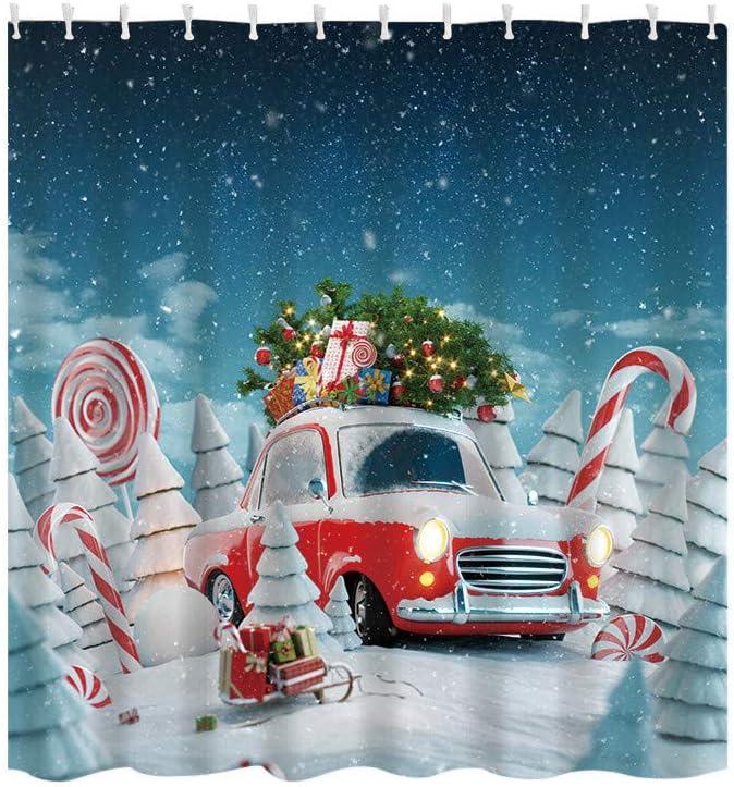 Christmas Shower Curtain Pine Tree San Antonio Mall Vintage Pr with Max 44% OFF Car