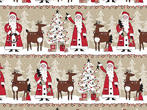 Woodland Santa Claus Reindeer Kraft Wrapping Paper - 24 Inches x 15 Feet Roll