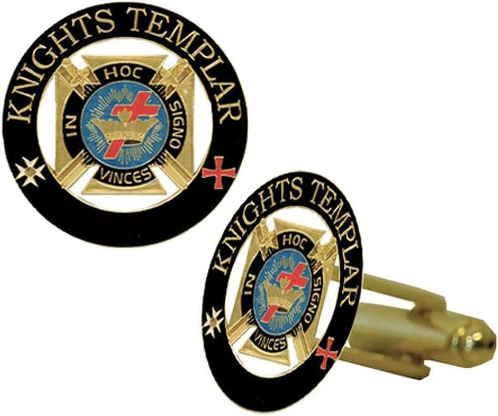Knights of Templar Masonic Cuff links - Gold tone with color enamel - Classic Freemasons Symbol. Masonic Regalia Merchandise for the Lodge
