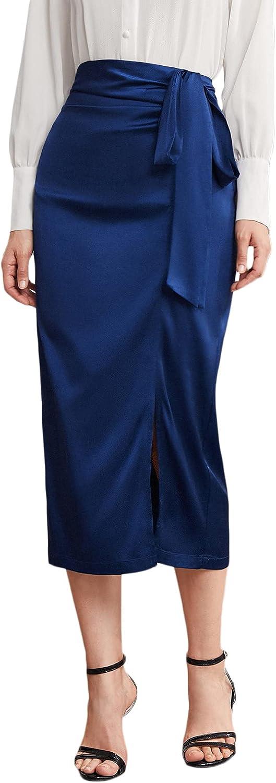 Verdusa Women's Elegant Tie Knot Split Hem High Waist Satin Long Skirt