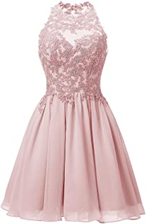 Women's Open Back Short Prom Dress W/ Sparkly Lace Homecoming Cocktail Dress