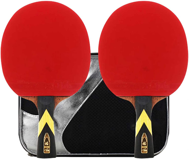 HXFENA Raquetas de Tenis de Mesa,Bate de Tenis de Mesa Ofensivo de 4 Estrellas con Excelente Velocidad de Giro Y Control,para Principiantes Entrenamiento Avanzado/A/mango largo