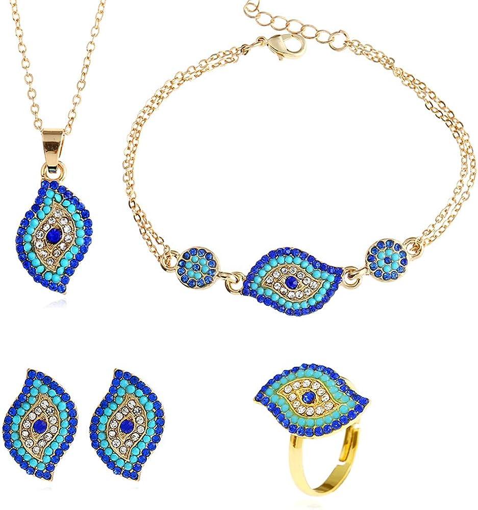 Devil Eye Necklace Personality Circular Female Earrings Ring Bracelet Necklace Jewelry Set for Women