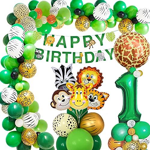 AcnA Selva Decoración Cumpleaños Niño 1 año, Selva Globos Fiesta Cumpleaños niño 1 año with Safari Decoracion Cumpleaños Animales Globos para Infantil Niño Primera Jungla fiesta de cumpleaños