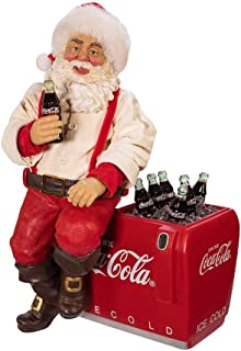 Kurt Adler Kurt S. Adler 10.5-Inch Coca-Cola Santa Sitting on Cooler Table Piece, Multi