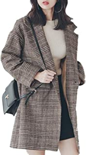 maweisong レディースウールシックウインドブレーカー格子縞パターン秋冬コート
