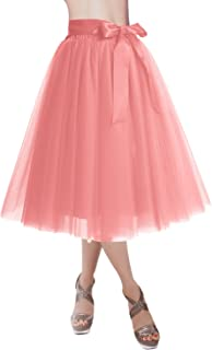 Knee Length Tulle Skirt Tutu Skirt Evening Party Gown Prom Formal Skirts