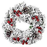 ZSWQ Guirnalda de Navidad en la Puerta Principal, Colgante Ornamento Puerta, Corona Hogar y Fiesta Decoración día de Gracias Corona Adorno de Pared para Navideñas Nudo de Navidad Copo de Nieve 32 CM