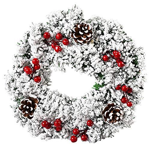 ZSWQ Guirnalda de Navidad en la Puerta Principal, Colgante Ornamento Puerta, Corona Hogar y Fiesta Decoración día de Gracias Corona Adorno de Pared para Navideñas Nudo de Navidad Copo de Nieve 32 CM ✅