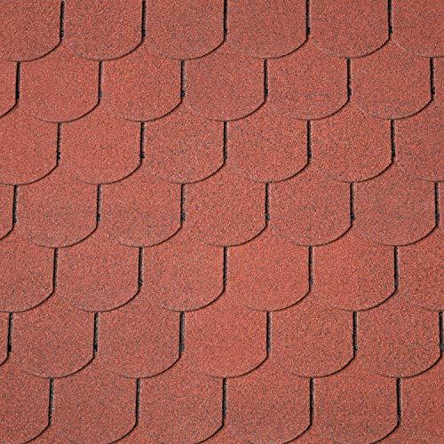 Dachschindeln Biberschwanz 3 m² mit Glasvlieseinlage Bitumenschindeln Schindeln Biberschwanzschindeln (Rot)