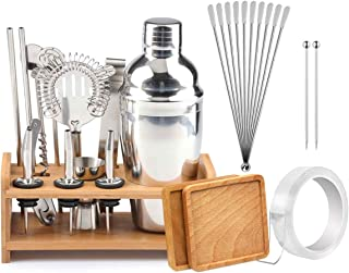 28PC Mixology Bartender Kit, Cocktail Shaker Set With Sleek Bamboo Stand, Bar Mixing Set For Home, Bar Tools Bartender Tool Kit With Strong Sealing Sharker And Exclusive Recipe Bonus