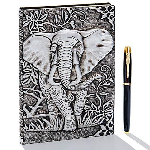 Taccuino vintage 3D in pelle goffrata con penna dorata, A5, 200 pagine, blocco note giornaliero, diario di viaggio e taccuino per scrivere, regalo per donne e uomini Elefante (Argento)