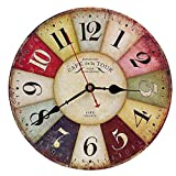 Reloj Pared de Madera de la Vendimia,30cm Reloj Numérico Grande de Madera Retro,Silencioso No Tick...