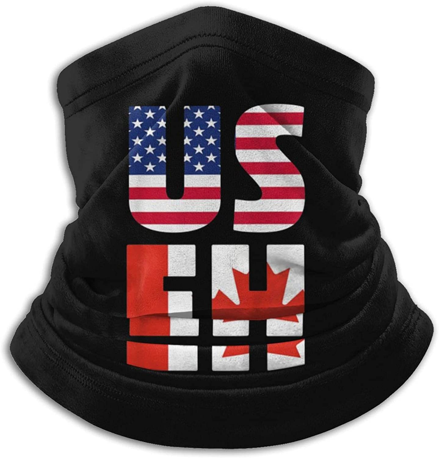 Us eh america and canada flag canadian usa unisex winter neck gaiter face cover mask, windproof balaclava scarf for fishing, running & hiking