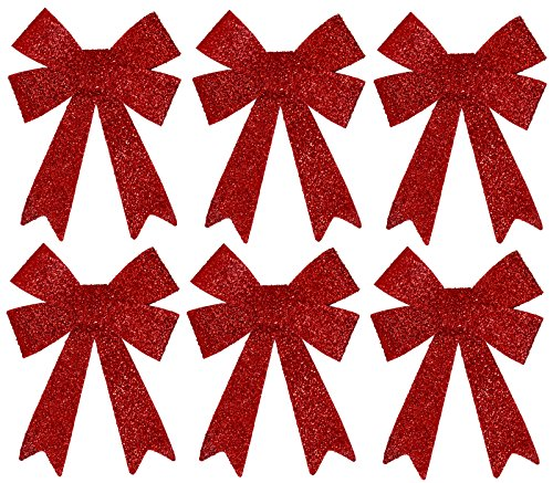 Iconikal Luxury No-Mess Glitter Christmas Bow 9 x 12-inches, 6 Pack - Red