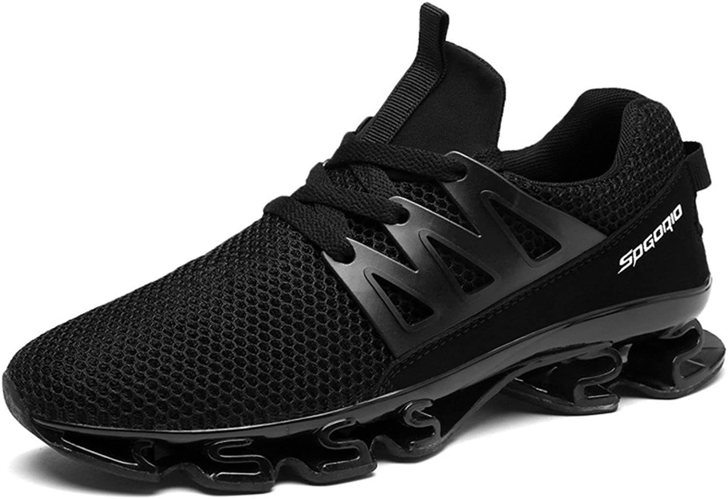 Noblespirit Men's Outdoor Sneakers Trail Running Hiking Jogging shoes WSMHSTK10-Bl44 Black