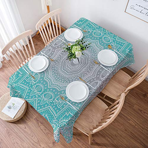 Nappe de Table Rectangulaire Anti Taches,Gris et Turquoise, Essence Spirituelle Primitive et Art Harmony Uni,Nappe Protection de Table en Tissu Coton et Lin Imperméable pour Table à Manger, 140x200 cm