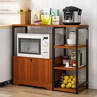 KCCCC Armoire de Cuisine Organisateur Cuisine Rack Utilitaire Vintage étagère de Rangement à Micro-Ondes Support avec Armo...