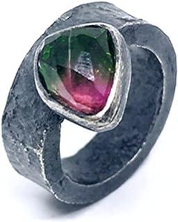 Prezioso anello con preziosa Tormalina (Anguria) bicolore realizzato in Argento 925 e ossidato (nero). Anello.