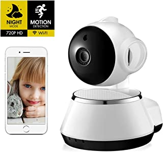 Home Security Wireless 360 Degree Camera | 2.4GHz and 720P HD WiFi Mini IP Camera, Night Vision Two Way Audio Motion Detection | IP66 Weatherproof, V380 Phone APP (SD Card Not Included)(Color: White)