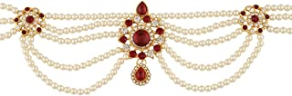 Anuradha Art Red-White Beautiful Combination Styled with Sparkling Stone & Woven with Pearl Beads Kamarpatta Waist Chain/B...