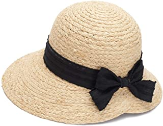 SHENTIANWEI Lady Straw hat Visor Bow Dome Sun hat Beach hat (Color : Straw Color, Size : M56-58cm)