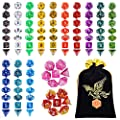 QMAY Polyhedral Dice,DND Dice Set Double-Colors DND Dice Role Playing Dice for Dungeon and Dragons Table Games by QMAY
