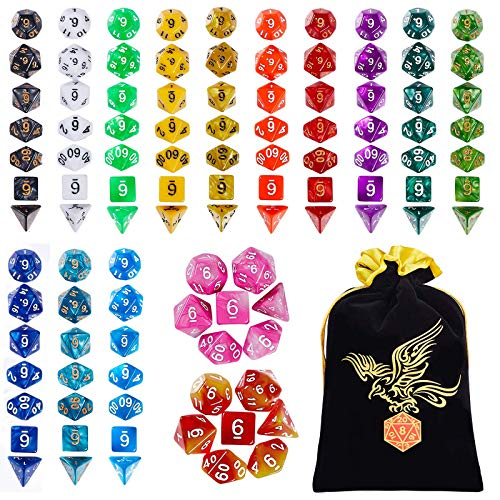 YILAIDA 105PCS Polyhedral Game Dice, 15 Color DND Dice Set Double-Colors...