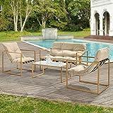 [casa.pro] Set de Muebles de jardín 4-Piezas Conjunto de Muebles de Exterior Sillón Sofá Mesa de Centro Caqui marrón y Imitación de Madera