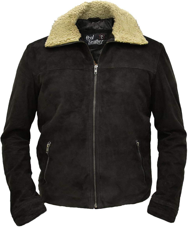 Walking Dead Season 7 Dead Rick Grime Dark Brown Real Suede Winter Leather Jacket