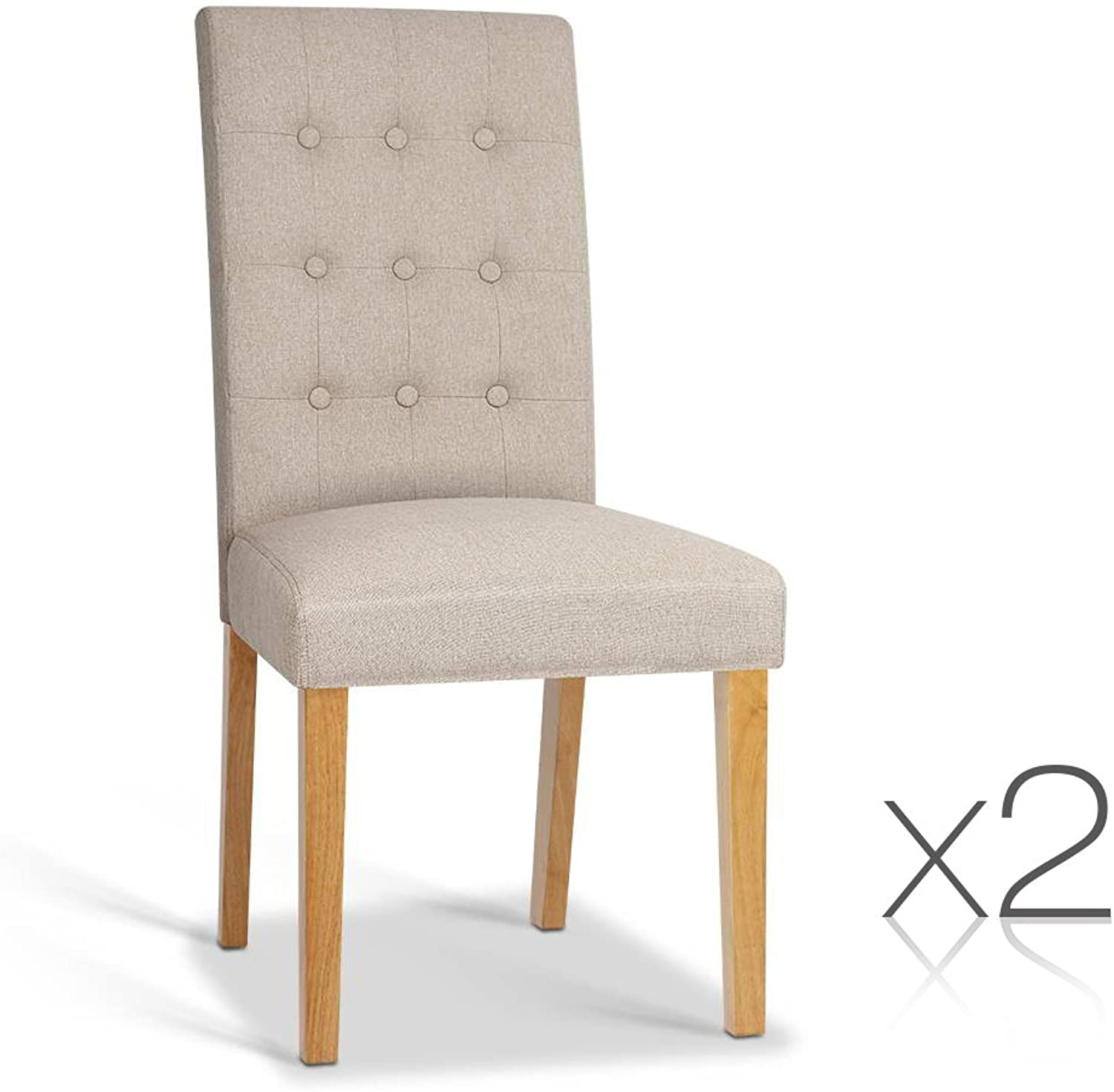 Set of 2 Fabric Dining Chair - Beige