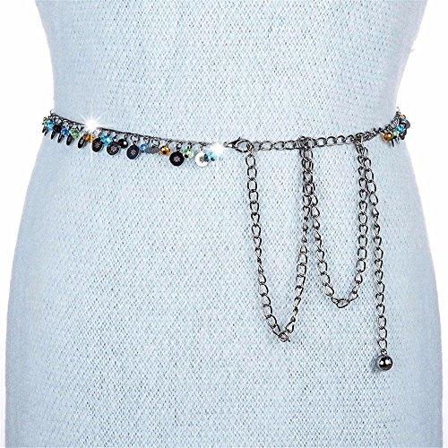 SAIBANGZI Chaîne de taille en métal pour femme avec pendentif en perle pour danse du ventre Noir 60 cm-93 cm