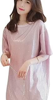 Women Girls Glitter Sequins T-Shirt Short Sleeve Loose Top Tee Casual Party Blouse Tops