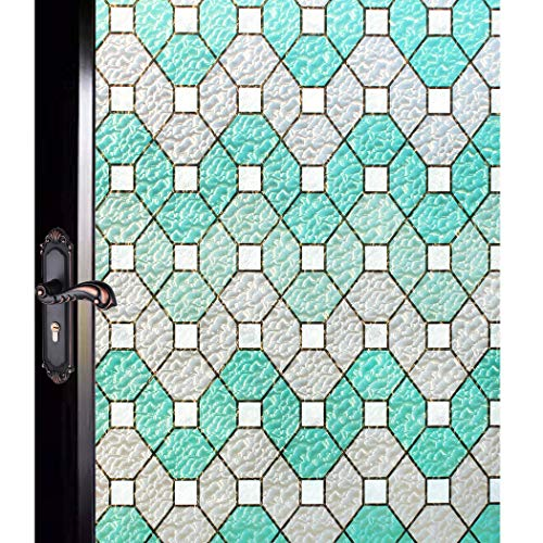 DUOFIRE Stained Glass Window Film Privacy Window Films Decorative Window Coverings Static Cling No Glue D95011 (35.4in. x 78.7in.) 90cm x 200cm