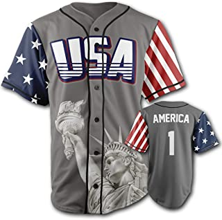 Greater Half Custom Baseball Jersey Button Down USA Grey America #1 (Small-4XL)