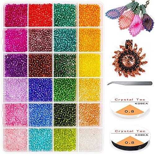 Kit de joyería Pulseras, cuentas para la fabricación de joyas, cuentas de semillas de pony para pendientes de collares, letras coloridas abalorios de alfabeto BRICOLAJE Arte artesanal, cordón elástico