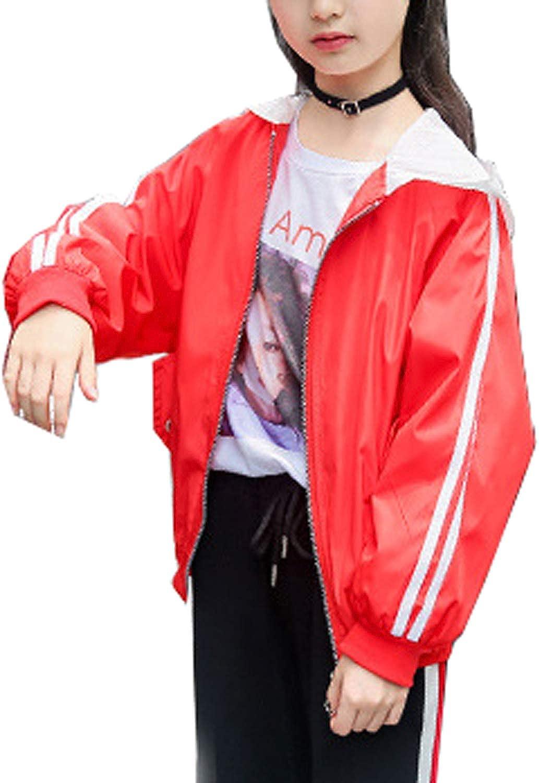 Qinni-shop Little Girls Red Pink Windproof Lightweight Jacket Coat