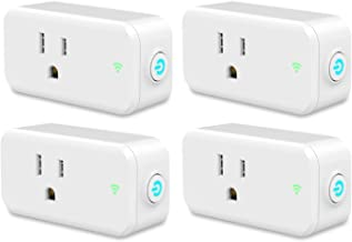 Plug, Smart Plug ESICOO,Compatible with Alexa Google Home Ifttt, Wi-Fi Mini Smart Outlet, Socket 1 Pack, No Hub Required Control Your Devices from Anywhere (White 4 Pack)