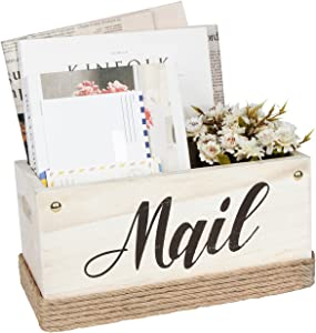 J JACKCUBE DESIGN Rustic White Wooden Tabletop Mail Organizer Box, Decorative Letter, Bill Storage Holder Sorter Box with Handles for Countertop, Office Desk, Entryways, Home Décor- MK1051B