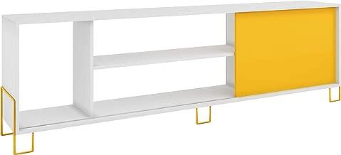BRV Móveis TV Stand, White with Yellow, 180 cm x 56 cm x 29.4 cm, BR 33-128