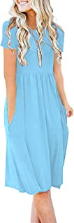 DB MOON Women's Summer Beach A Line Dress Casual Flared Sleeveless Tank Dresses
